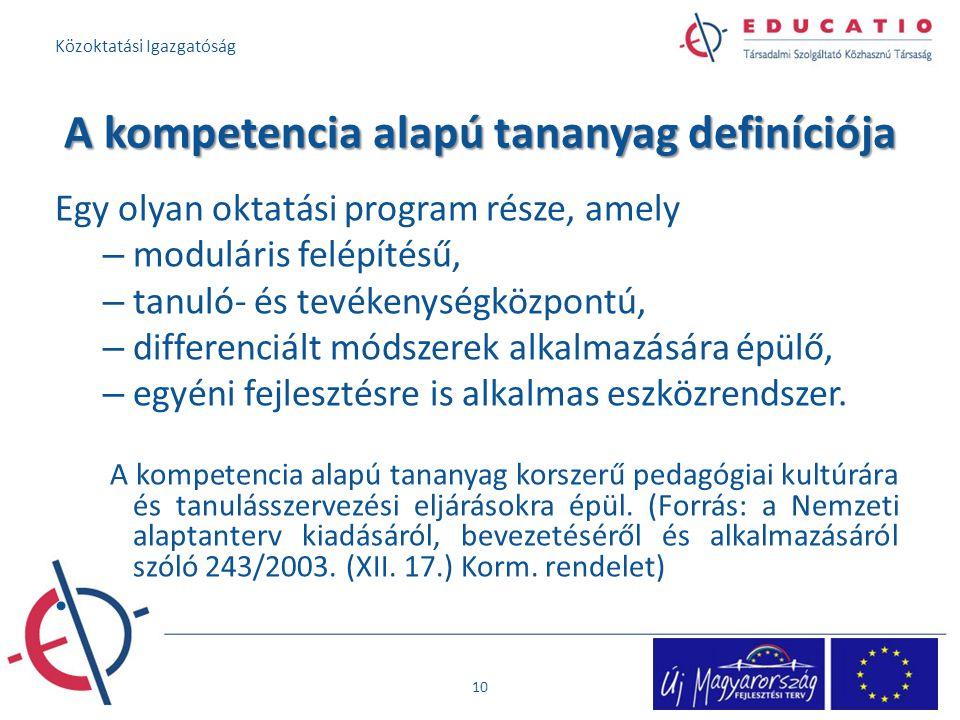A kompetencia alapú tananyag definíciója Egy olyan oktatási program része, amely – moduláris felépítésű, – tanuló- és tevékenységközpontú, – differenc