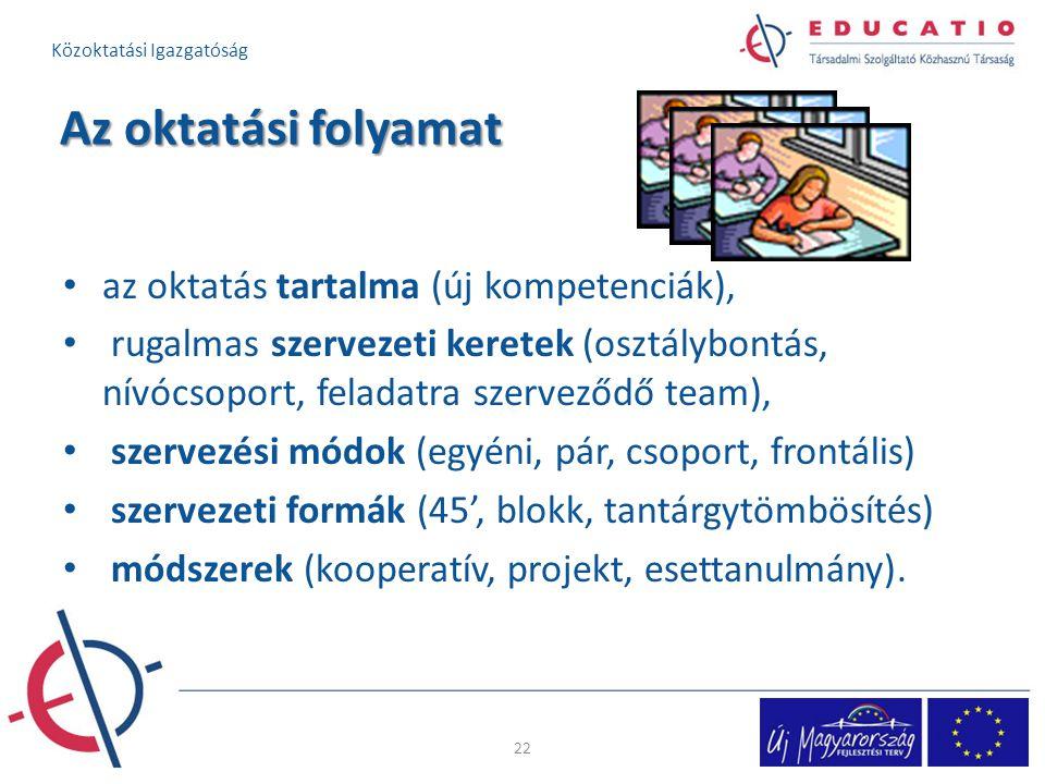 Az oktatási folyamat az oktatás tartalma (új kompetenciák), rugalmas szervezeti keretek (osztálybontás, nívócsoport, feladatra szerveződő team), szerv