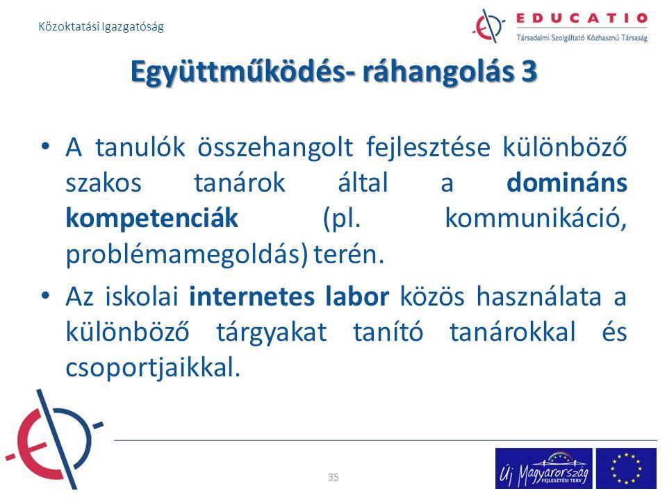 Együttműködés- ráhangolás 3 A tanulók összehangolt fejlesztése különböző szakos tanárok által a domináns kompetenciák (pl. kommunikáció, problémamegol