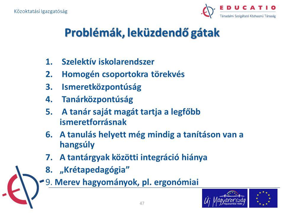 Problémák, leküzdendő gátak 1. Szelektív iskolarendszer 2. Homogén csoportokra törekvés 3. Ismeretközpontúság 4. Tanárközpontúság 5. A tanár saját mag