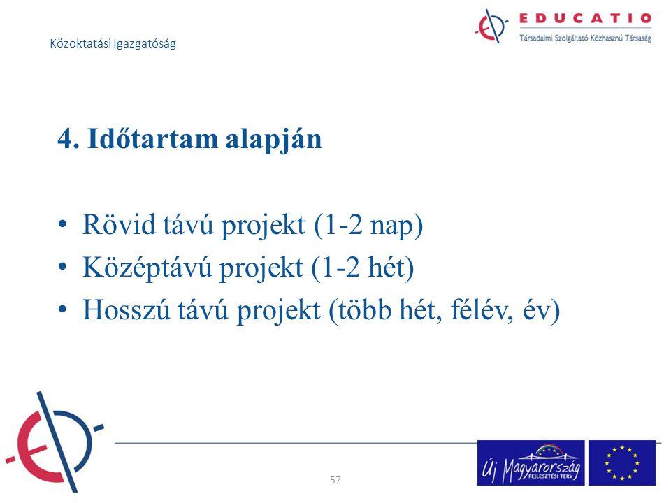 4. Időtartam alapján Rövid távú projekt (1-2 nap) Középtávú projekt (1-2 hét) Hosszú távú projekt (több hét, félév, év) 57 Közoktatási Igazgatóság
