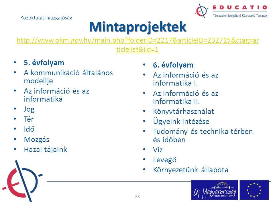 Mintaprojektek Mintaprojektek http://www.okm.gov.hu/main.php?folderID=2217&articleID=232715&ctag=ar ticlelist&iid=1 http://www.okm.gov.hu/main.php?fol