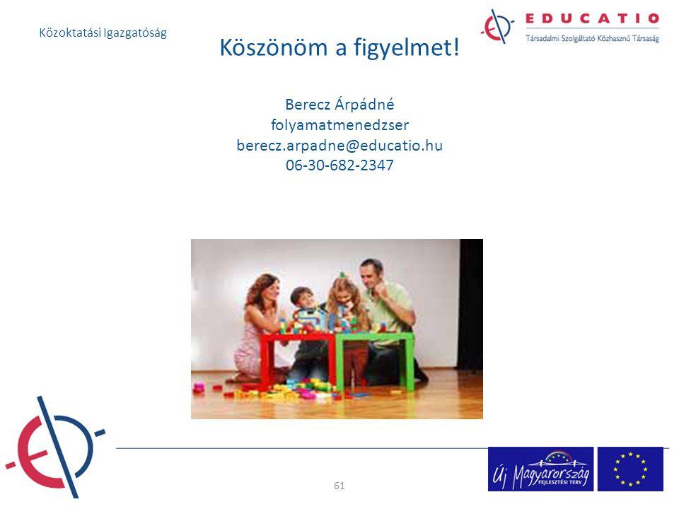 Köszönöm a figyelmet! Berecz Árpádné folyamatmenedzser berecz.arpadne@educatio.hu 06-30-682-2347 61 Közoktatási Igazgatóság