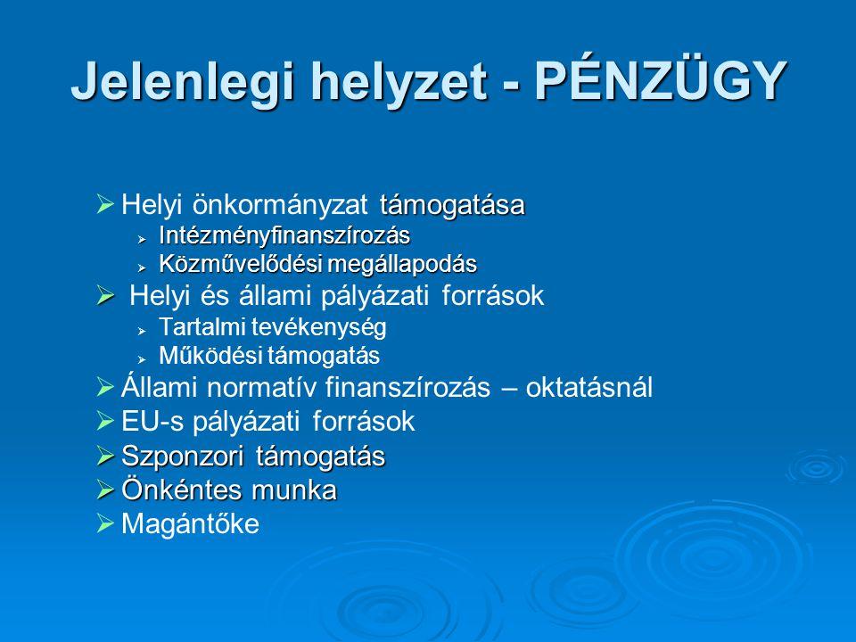  támogatása  Helyi önkormányzat támogatása  Intézményfinanszírozás  Közművelődési megállapodás   Helyi és állami pályázati források   Tartalmi tevékenység   Működési támogatás   Állami normatív finanszírozás – oktatásnál   EU-s pályázati források  Szponzori támogatás  Önkéntes munka   Magántőke Jelenlegi helyzet - PÉNZÜGY