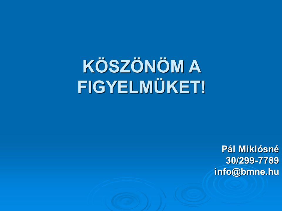 KÖSZÖNÖM A FIGYELMÜKET! Pál Miklósné 30/299-7789info@bmne.hu