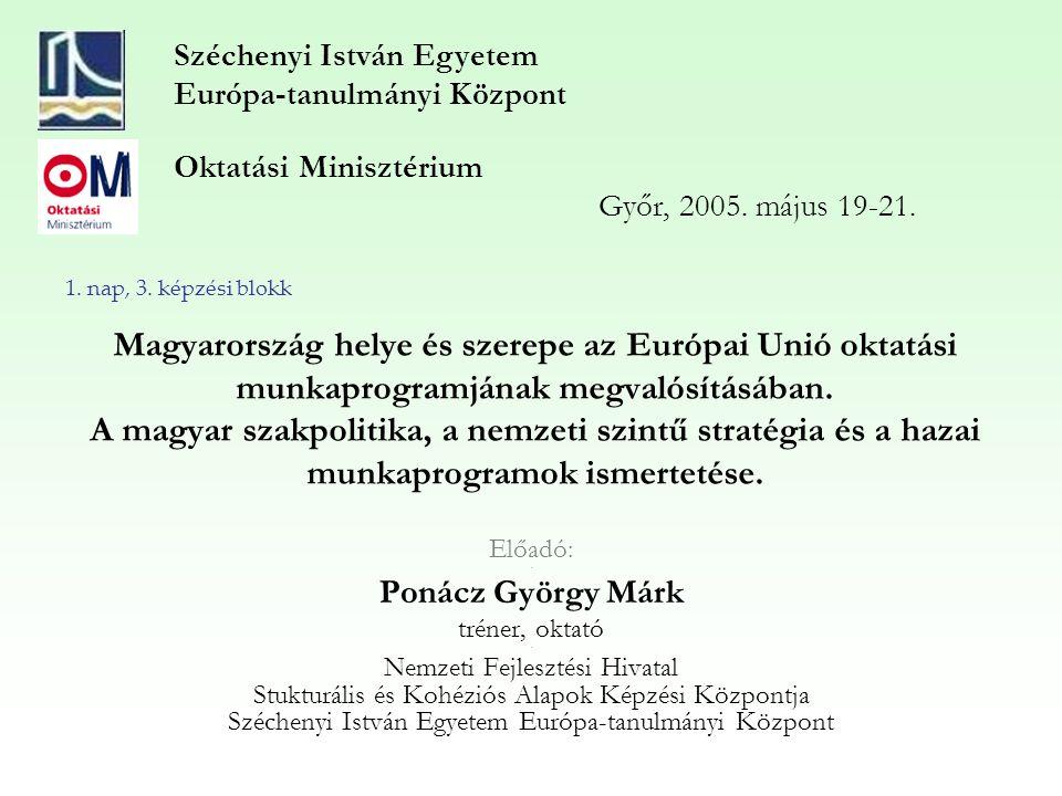 Magyarország helye és szerepe az Európai Unió oktatási munkaprogramjának megvalósításában.