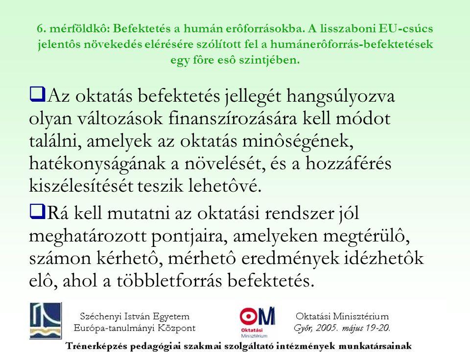 6. mérföldkô: Befektetés a humán erôforrásokba. A lisszaboni EU-csúcs jelentôs növekedés elérésére szólított fel a humánerôforrás-befektetések egy fôr