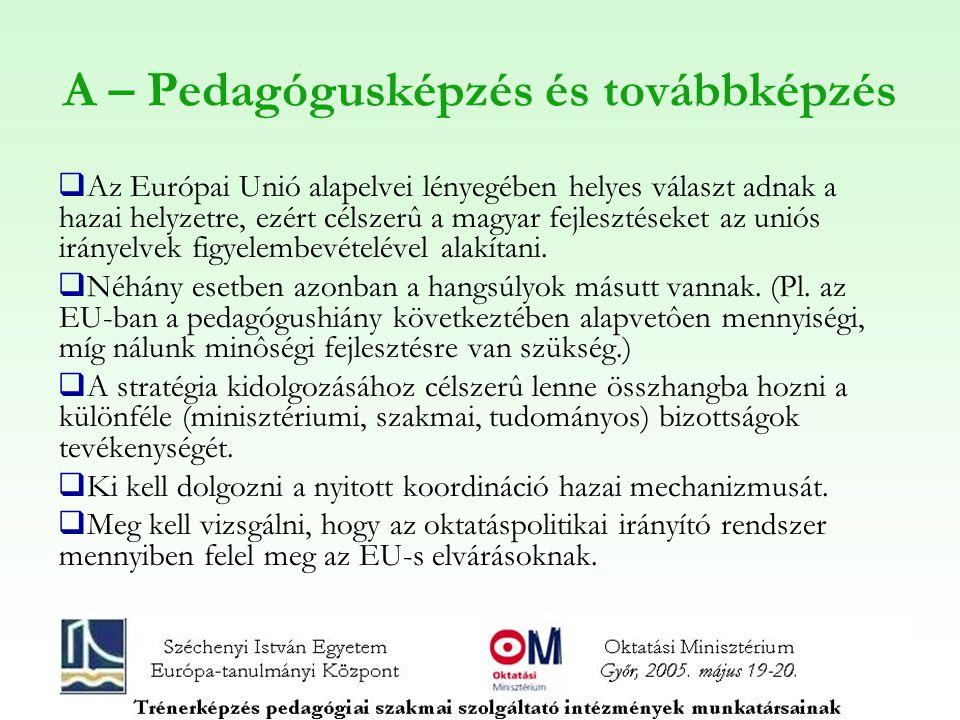 A – Pedagógusképzés és továbbképzés  Az Európai Unió alapelvei lényegében helyes választ adnak a hazai helyzetre, ezért célszerû a magyar fejlesztéseket az uniós irányelvek figyelembevételével alakítani.