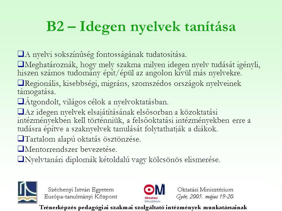B2 – Idegen nyelvek tanítása  A nyelvi sokszínûség fontosságának tudatosítása.  Meghatároznák, hogy mely szakma milyen idegen nyelv tudását igényli,