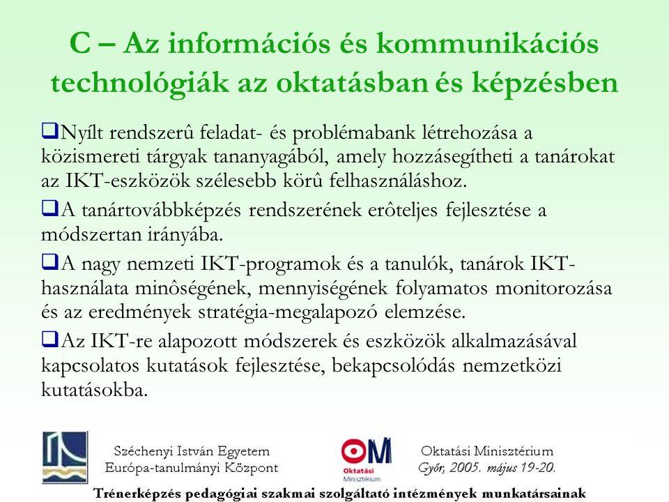 C – Az információs és kommunikációs technológiák az oktatásban és képzésben  Nyílt rendszerû feladat- és problémabank létrehozása a közismereti tárgyak tananyagából, amely hozzásegítheti a tanárokat az IKT-eszközök szélesebb körû felhasználáshoz.