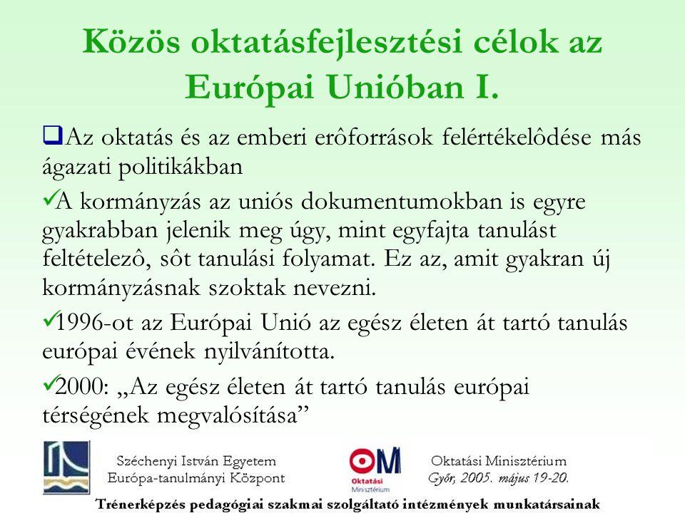 Közös oktatásfejlesztési célok az Európai Unióban I.  Az oktatás és az emberi erôforrások felértékelôdése más ágazati politikákban A kormányzás az un