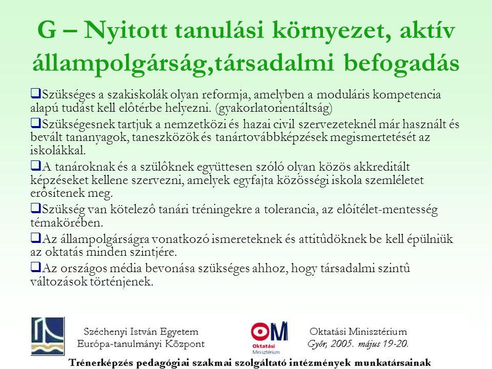 G – Nyitott tanulási környezet, aktív állampolgárság,társadalmi befogadás  Szükséges a szakiskolák olyan reformja, amelyben a moduláris kompetencia alapú tudást kell elôtérbe helyezni.