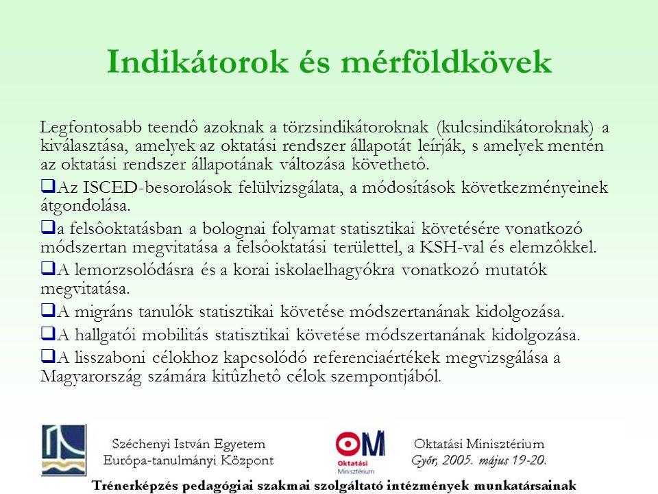 Indikátorok és mérföldkövek Legfontosabb teendô azoknak a törzsindikátoroknak (kulcsindikátoroknak) a kiválasztása, amelyek az oktatási rendszer állap