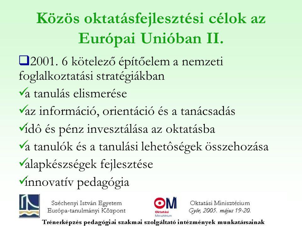 Közös oktatásfejlesztési célok az Európai Unióban II.  2001. 6 kötelező építőelem a nemzeti foglalkoztatási stratégiákban a tanulás elismerése az inf