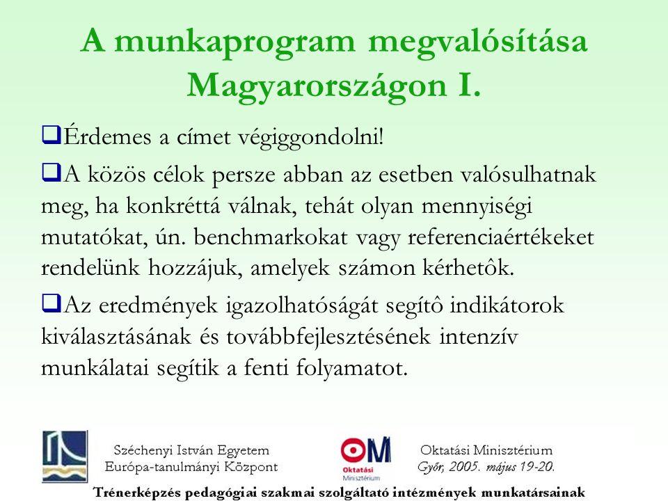 A munkaprogram megvalósítása Magyarországon I.  Érdemes a címet végiggondolni!  A közös célok persze abban az esetben valósulhatnak meg, ha konkrétt