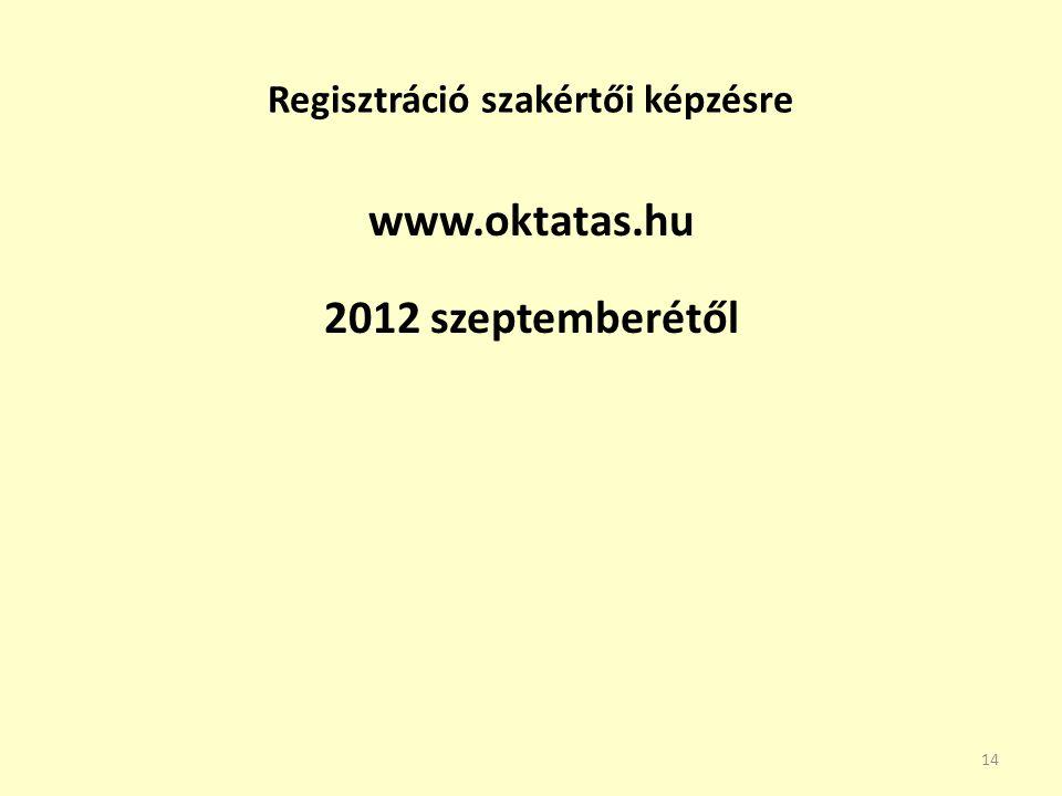 Regisztráció szakértői képzésre www.oktatas.hu 2012 szeptemberétől 14