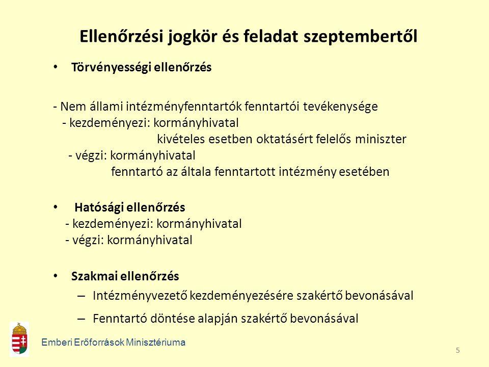 55 Ellenőrzési jogkör és feladat szeptembertől Törvényességi ellenőrzés - Nem állami intézményfenntartók fenntartói tevékenysége - kezdeményezi: kormá
