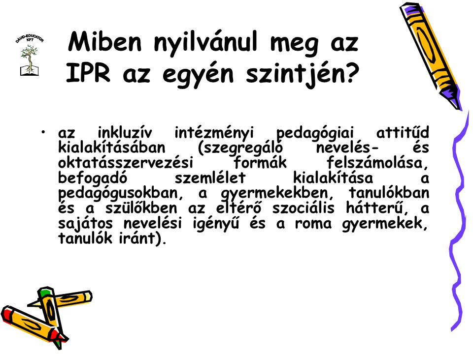 Miben nyilvánul meg az IPR az egyén szintjén? az inkluzív intézményi pedagógiai attitűd kialakításában (szegregáló nevelés- és oktatásszervezési formá