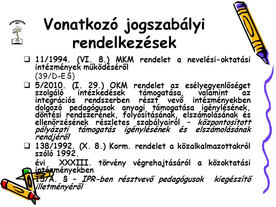Vonatkozó jogszabályi rendelkezések  11/1994. (VI. 8.) MKM rendelet a nevelési-oktatási intézmények működéséről (39/D-E §)  5/2010. (I. 29.) OKM ren