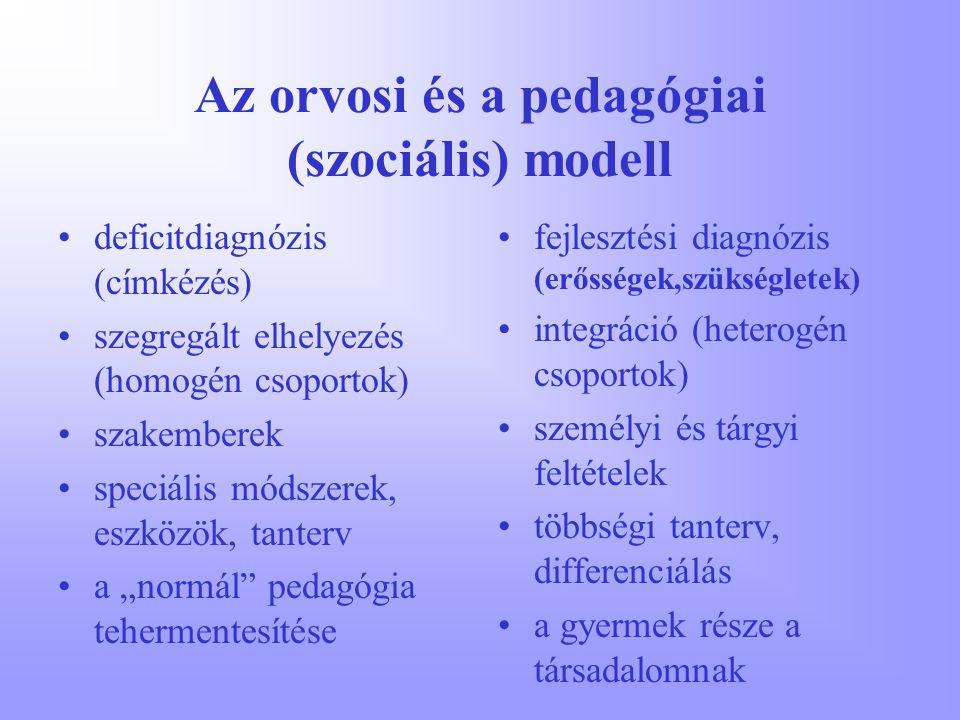 Az orvosi és a pedagógiai (szociális) modell deficitdiagnózis (címkézés) szegregált elhelyezés (homogén csoportok) szakemberek speciális módszerek, es