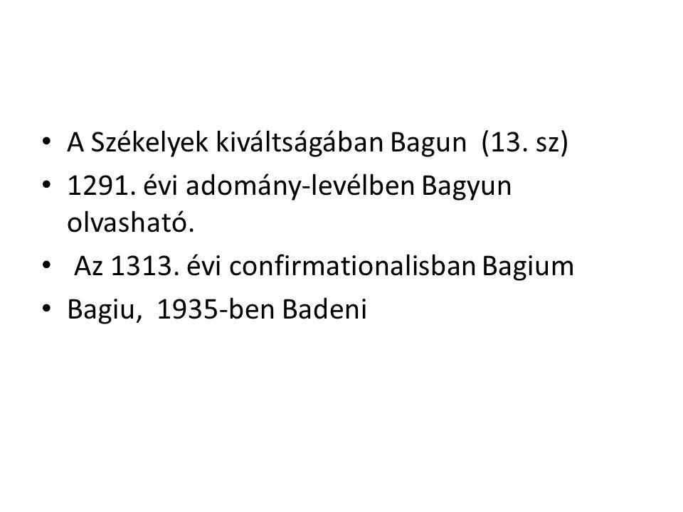 A Székelyek kiváltságában Bagun (13. sz) 1291. évi adomány-levélben Bagyun olvasható.