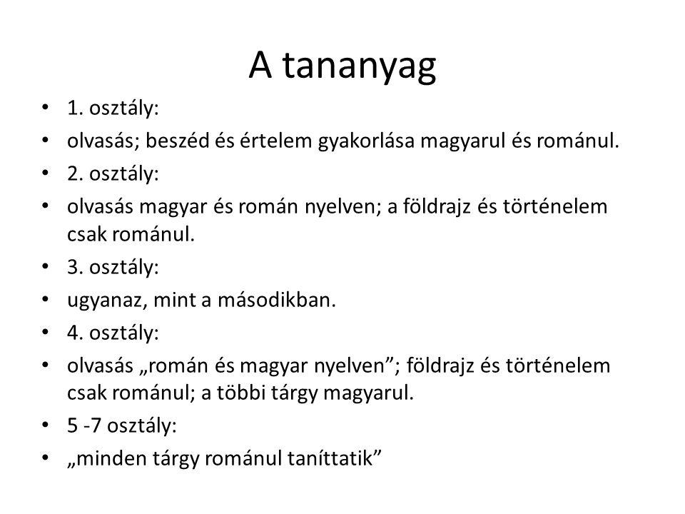 A tananyag 1. osztály: olvasás; beszéd és értelem gyakorlása magyarul és románul.