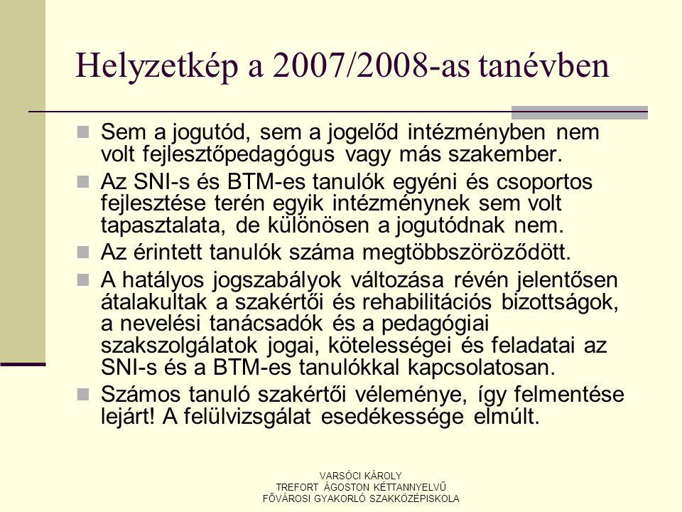 Helyzetkép a 2007/2008-as tanévben Sem a jogutód, sem a jogelőd intézményben nem volt fejlesztőpedagógus vagy más szakember. Az SNI-s és BTM-es tanuló