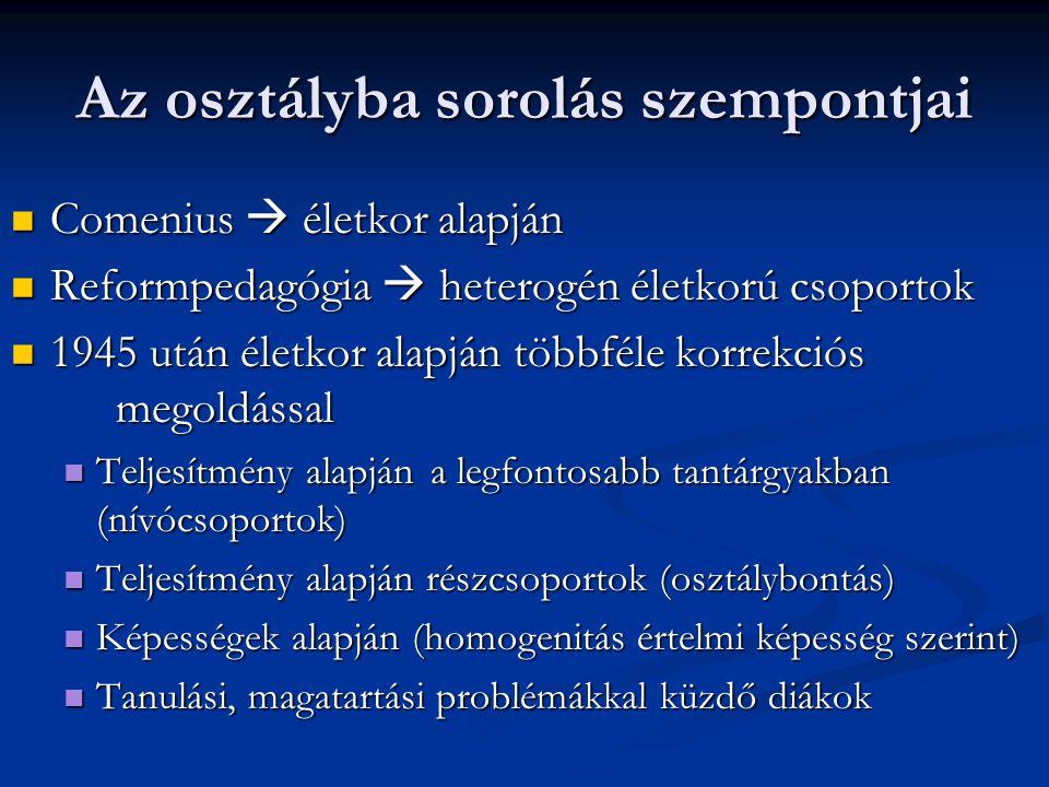 Az osztályba sorolás szempontjai Comenius  életkor alapján Comenius  életkor alapján Reformpedagógia  heterogén életkorú csoportok Reformpedagógia