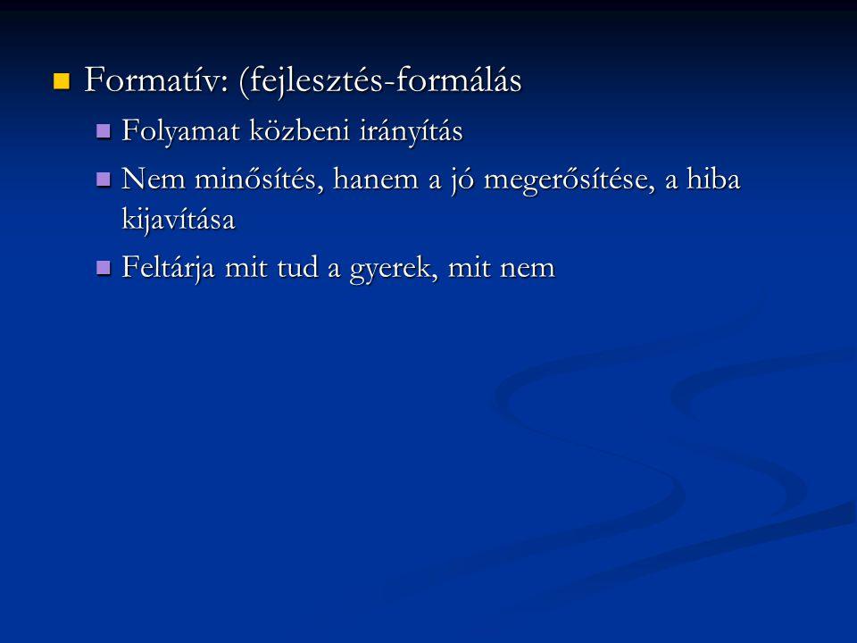 Formatív: (fejlesztés-formálás Formatív: (fejlesztés-formálás Folyamat közbeni irányítás Folyamat közbeni irányítás Nem minősítés, hanem a jó megerősí