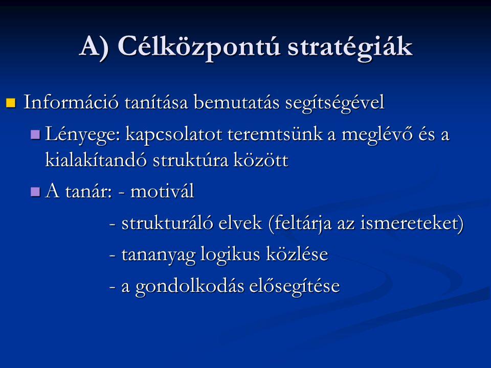 A) Célközpontú stratégiák Információ tanítása bemutatás segítségével Információ tanítása bemutatás segítségével Lényege: kapcsolatot teremtsünk a megl