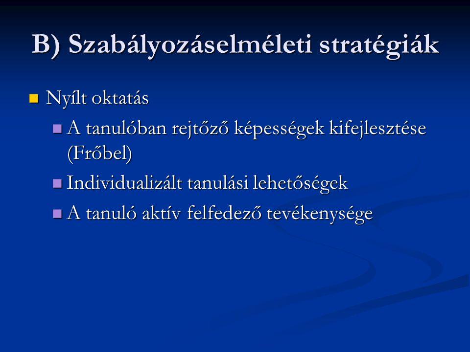 B) Szabályozáselméleti stratégiák Nyílt oktatás Nyílt oktatás A tanulóban rejtőző képességek kifejlesztése (Frőbel) A tanulóban rejtőző képességek kif