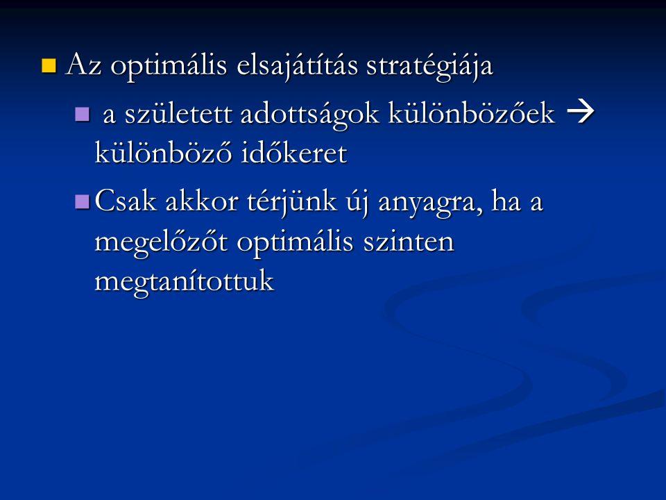 Az optimális elsajátítás stratégiája Az optimális elsajátítás stratégiája a született adottságok különbözőek  különböző időkeret a született adottság