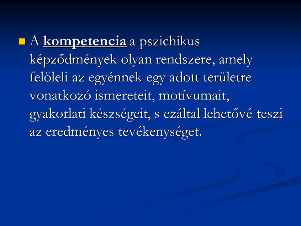A kompetencia a pszichikus képződmények olyan rendszere, amely felöleli az egyénnek egy adott területre vonatkozó ismereteit, motívumait, gyakorlati k