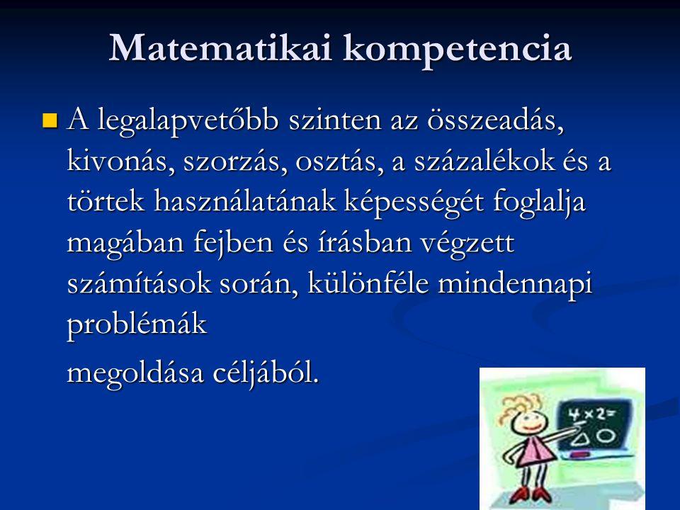 Matematikai kompetencia A legalapvetőbb szinten az összeadás, kivonás, szorzás, osztás, a százalékok és a törtek használatának képességét foglalja mag