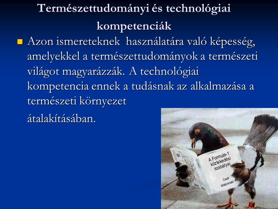 Természettudományi és technológiai kompetenciák Azon ismereteknek használatára való képesség, amelyekkel a természettudományok a természeti világot ma