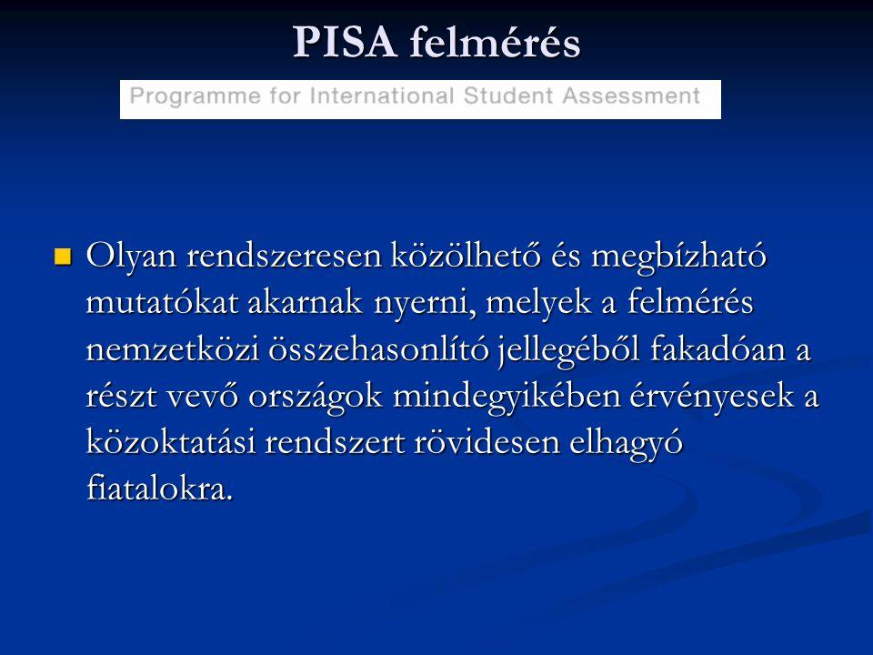 PISA felmérés Olyan rendszeresen közölhető és megbízható mutatókat akarnak nyerni, melyek a felmérés nemzetközi összehasonlító jellegéből fakadóan a r