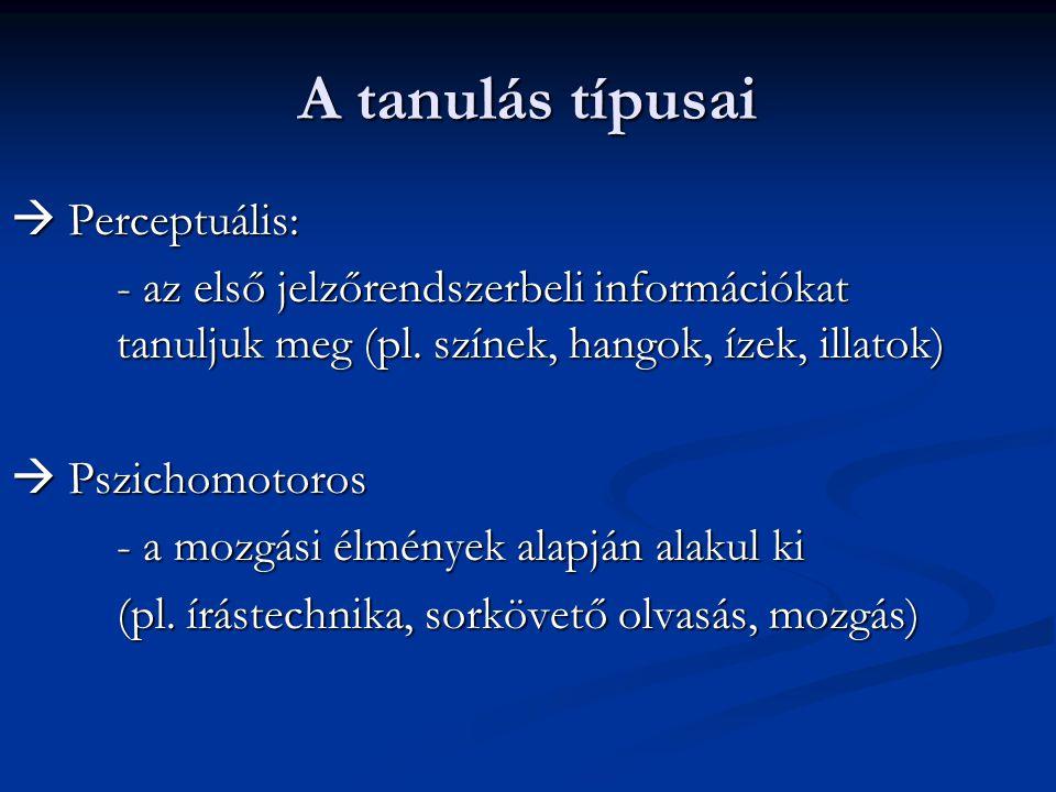 A tanulás típusai  Perceptuális: - az első jelzőrendszerbeli információkat tanuljuk meg (pl. színek, hangok, ízek, illatok)  Pszichomotoros - a mozg
