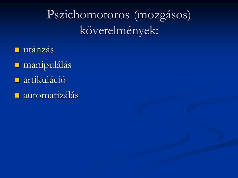 Pszichomotoros (mozgásos) követelmények: utánzás utánzás manipulálás manipulálás artikuláció artikuláció automatizálás automatizálás