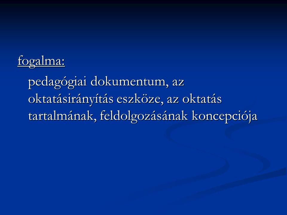 fogalma: pedagógiai dokumentum, az oktatásirányítás eszköze, az oktatás tartalmának, feldolgozásának koncepciója