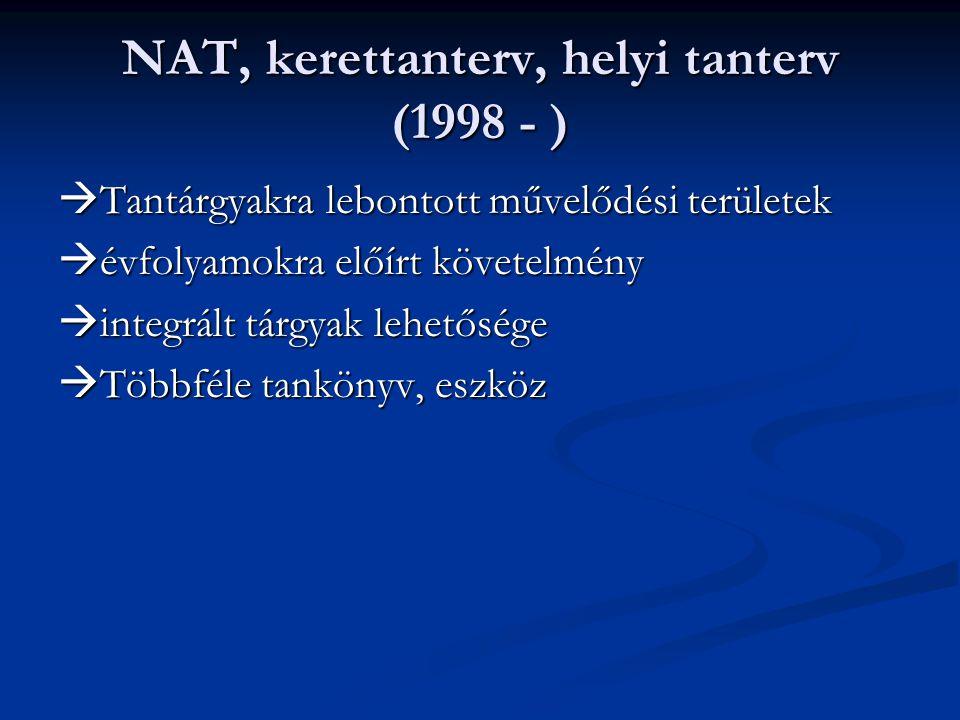 NAT, kerettanterv, helyi tanterv (1998 - )  Tantárgyakra lebontott művelődési területek  évfolyamokra előírt követelmény  integrált tárgyak lehetős