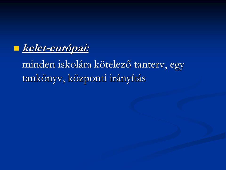 kelet-európai: kelet-európai: minden iskolára kötelező tanterv, egy tankönyv, központi irányítás