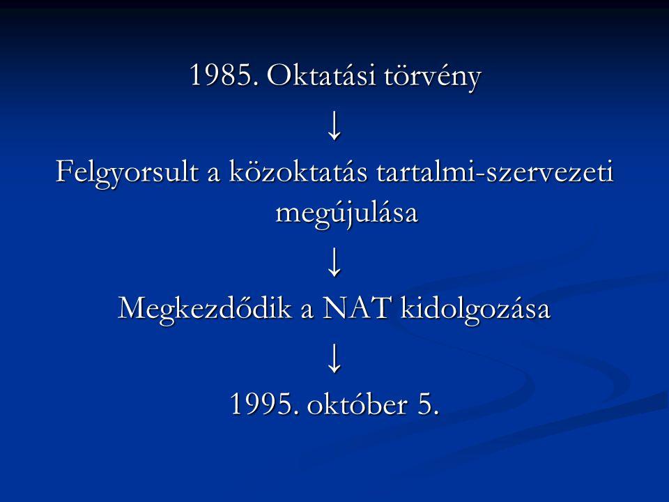1985. Oktatási törvény ↓ Felgyorsult a közoktatás tartalmi-szervezeti megújulása ↓ Megkezdődik a NAT kidolgozása ↓ 1995. október 5.