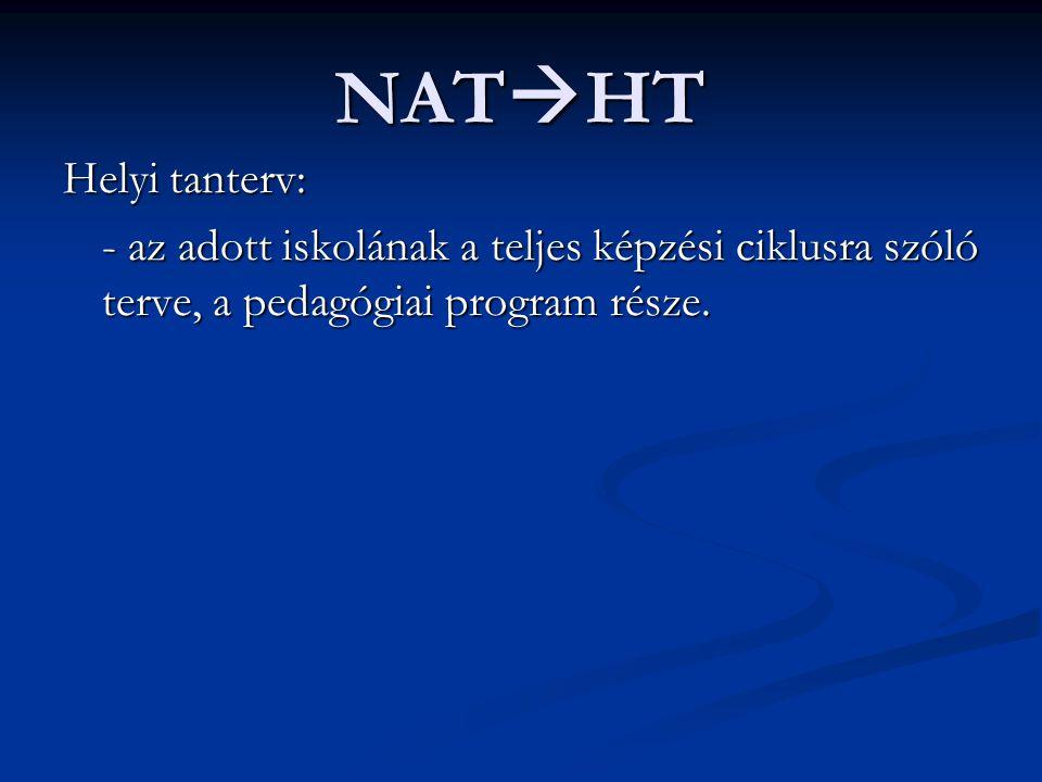 NAT  HT Helyi tanterv: - az adott iskolának a teljes képzési ciklusra szóló terve, a pedagógiai program része.