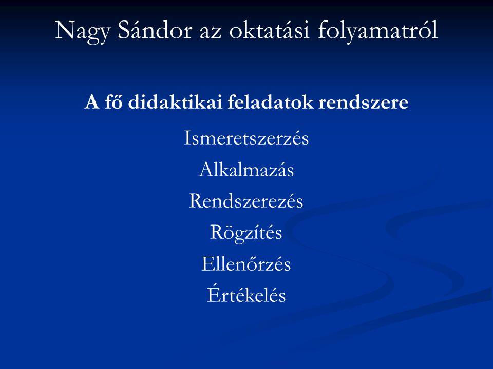 Nagy Sándor az oktatási folyamatról A fő didaktikai feladatok rendszere Ismeretszerzés Alkalmazás Rendszerezés Rögzítés Ellenőrzés Értékelés