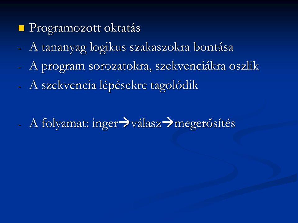 Programozott oktatás Programozott oktatás - A tananyag logikus szakaszokra bontása - A program sorozatokra, szekvenciákra oszlik - A szekvencia lépése
