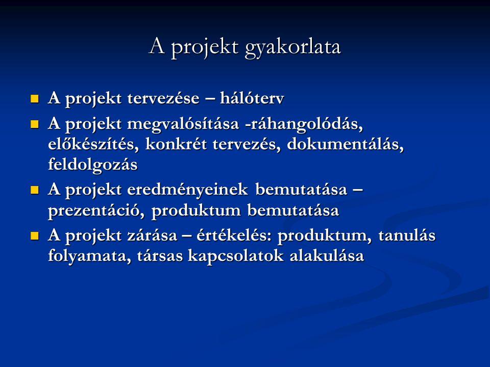 A projekt gyakorlata A projekt tervezése – hálóterv A projekt tervezése – hálóterv A projekt megvalósítása -ráhangolódás, előkészítés, konkrét tervezé