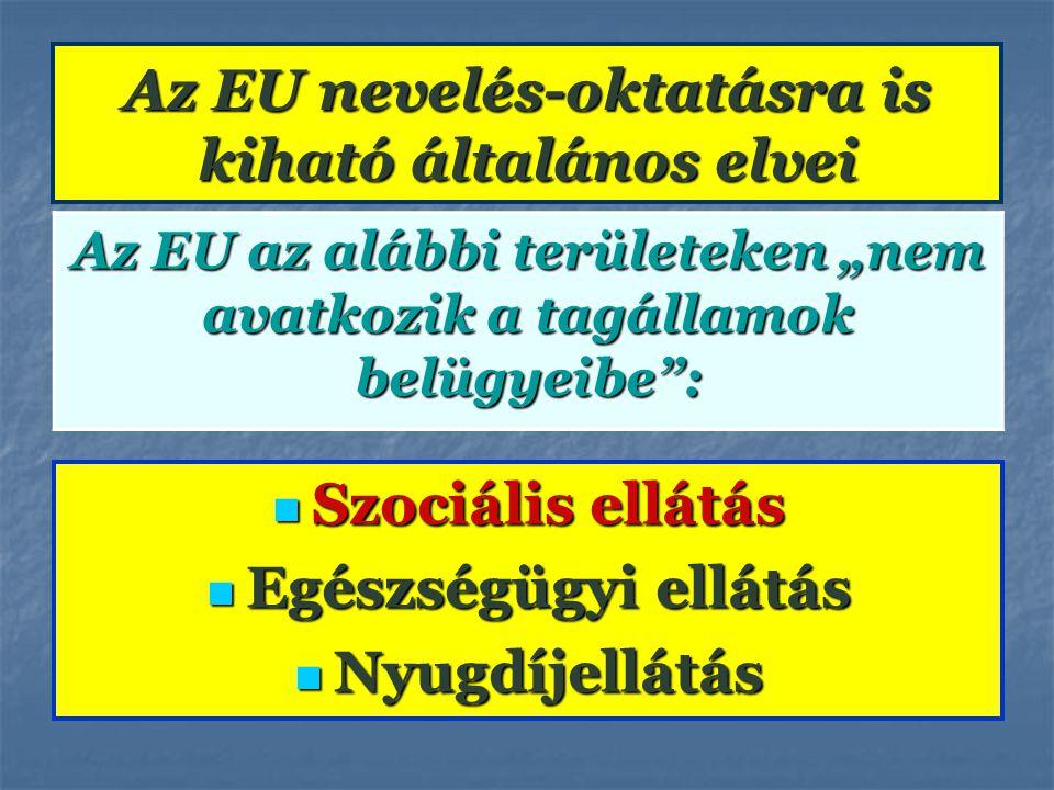 """Az EU nevelés-oktatásra is kiható általános elvei Az EU az alábbi területeken """"nem avatkozik a tagállamok belügyeibe"""": Szociális ellátás Szociális ell"""