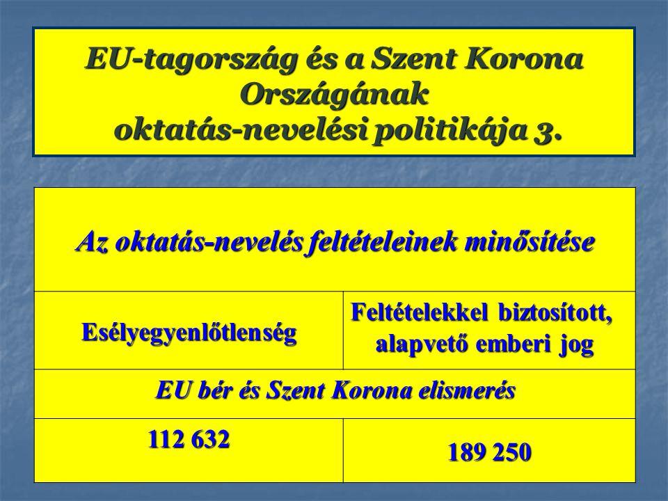 EU-tagország és a Szent Korona Országának oktatás-nevelési politikája 3. Az oktatás-nevelés feltételeinek minősítése Esélyegyenlőtlenség Feltételekkel