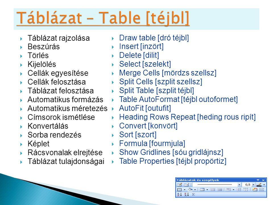  Táblázat rajzolása  Beszúrás  Törlés  Kijelölés  Cellák egyesítése  Cellák felosztása  Táblázat felosztása  Automatikus formázás  Automatiku