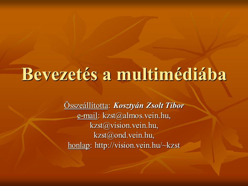 Bevezetés a multimédiába Összeállította: Kosztyán Zsolt Tibor e-mail: kzst@almos.vein.hu, kzst@vision.vein.hu,kzst@ond.vein.hu, honlap: http://vision.vein.hu/~kzst